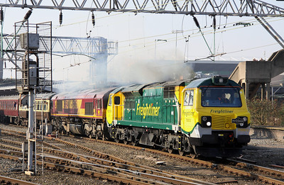 17 April. The first time a class 70 operates a charter train as 70003 with 66154 inside leaves Crewe on the 0454 Swindon - Leeds, The Yorkshire Dalesman. 66154 had worked solo from Swindon.
