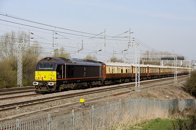 10 April. Royal skip 67005 Queen's Messenger was the tail loco on the Grand National VSOE working.