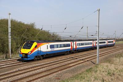 10 April. 222101 passes Millbrook Bridge with the 0847 Sheffield - St. Pancras International.