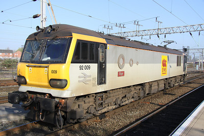 17 April. One of the few class 92's to carry cast plates, 92009 Elgar at Crewe.