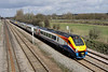 4 April. 222102 + 222013 head north on the slow at Bromham with the 1030 St. Pancras International - Sheffield.
