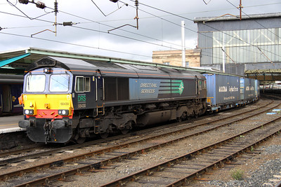 18 August. 66430 passes south through Carlisle on the 4M44 0847 Mossend - Daventry.