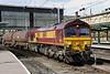 18 August. 66041 crawls through Carlisle on the 6E62 1450 Carlisle Yard - Tees Yard.