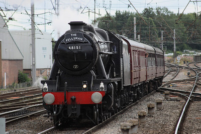 18 August. 48151 GAUGE 'O' GUILD on the final approach into Carlisle with THE FELLSMAN, the 0805 Lancaster - Carlisle.