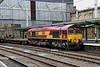 18 August. 66113 rattles through Carlisle working the 6K05 1221 Carlisle Yard - Crewe Basford Hall.