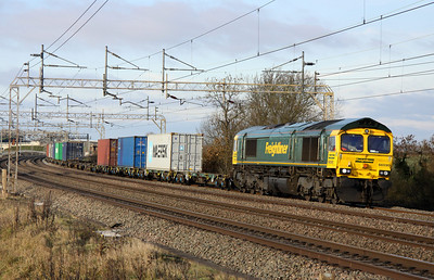 11 December. 66590 heads south at Chelmscote on the 4L90 0907 Lawley Street - Felixstowe.