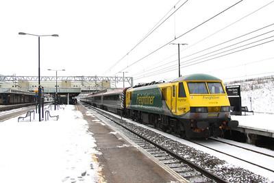 24 December. The errant 90045 is seen at Milton Keynes having been reversed from Wolverton.