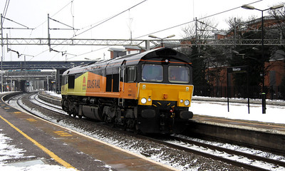 4 December. Colas Rail 66844, the former 66409 runs through Wolverton working light from Ilford - Rugby.