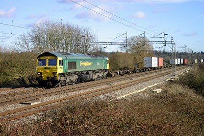 30 January. 66502 Basford Hall Centenary 2001 heads a partially loaded liner past Chelmscote on the 0847 Felixstowe - Crewe Basford Hall.