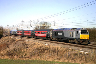30 January. 67010, the former Unicorn, passes south at Chelmscote working the diverted 0723 Wrexham General - Marylebone.
