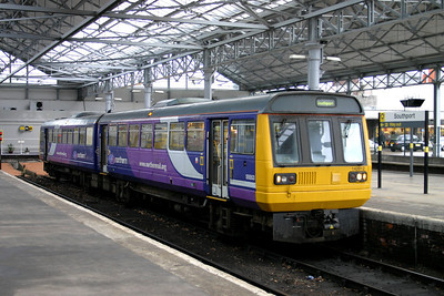 2 January. Northern liveried 142012 awaits departure from Southport with the 0954 to Manchester Victoria.