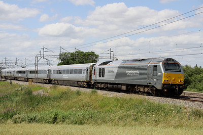 3 July. 67014 Thomas Telford is seen pushing the diverted 1224 Marylebone - Wrexham General past Chelmscote.