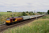 2 July. 67002 Special Delivery rumbles past Castlethorpe with former Connex units 508201 + 508202 destined for long term storage as the 5Z72 Ashford Chart Leacon - Donnington.