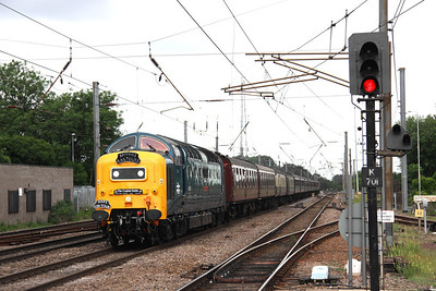 12 June. 55022 ROYAL SCOTS GREY powers through Hitchin with the Capital Deltic, the 0500 Preston - King's Cross.