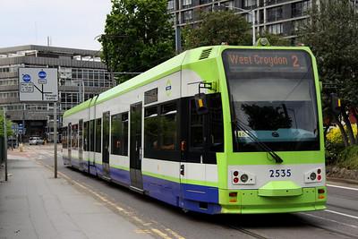 5 June. 2535 STEPHEN PARASCANDOLO 1980-2007 heads towards East Croydon rail station with a service to West Croydon.