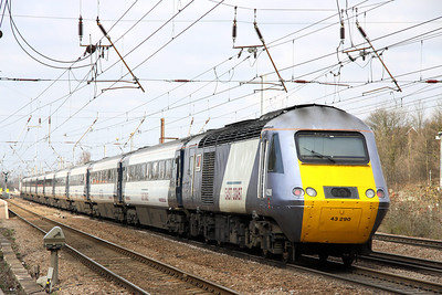 13 March. 43290 mtu facination of power on the tail of the 1130 King's Cross - Edinburgh at Hitchin.