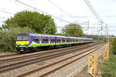 21 May. 321417 + 321413 head south at Chelmscote on the 1632 Bletchley - Euston ECS.