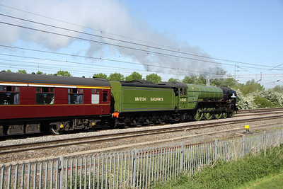 22 May. 60163 TORNADO powers past Bradwell with the Cathedrals Express, the 0806 Euston - Chester.