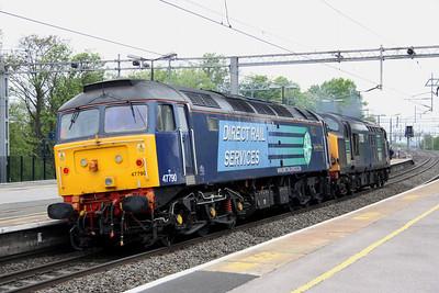 14 May. 47790 Galloway Princess trailing 37038 through Wolverton.