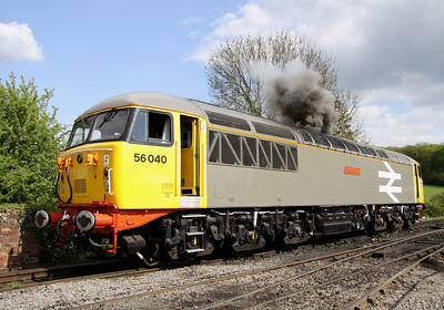 15 May. The impressive 56040 Oystermouth erupts into life at Shackerstone.
