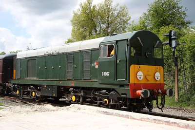 15 May. Class 20, D8007 at Rushcliffe Halt on the rear of the 1100 Ruddington - Loughborough.