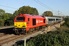 10 October. Caught at last in the sun ! 67018 Keith Heller storms past Chelmscote on the 1500 Marylebone - Wrexham General.