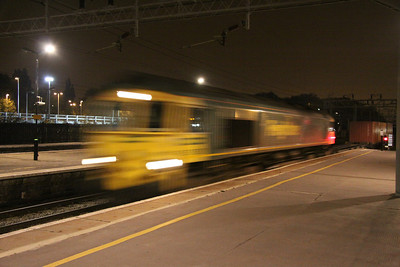 8 October. Freightliner's 66537 in a hurry at Bletchley. Artistic shot or wrong setting ?  Wrong setting !!