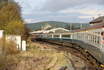 30 October. 67025 Western Star leads the way into Hellifield on the West Coast Circular, the 0540 Watford Junction - Carlisle.