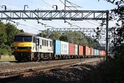 3 September. 90043 Freightliner Coatbridge speeds north at Bradwell.