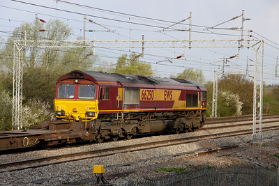 2 April. 66250, the highest numbered EWS liveried class 66 passes Bradwell with the 4M74 0507 Ipswich - Birch Coppice intermodal working.