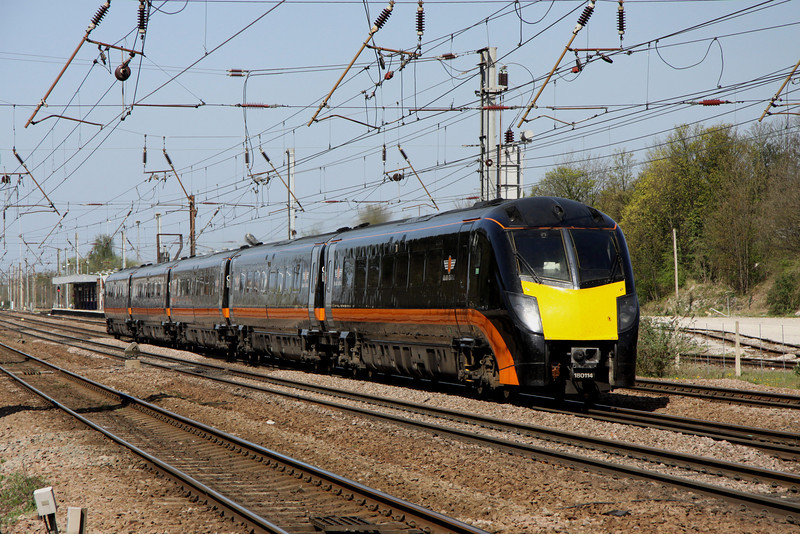 9 April. Grand Central Zephyr 180114 storms past Hitchin with the 0929 Sunderland - King's Cross.
