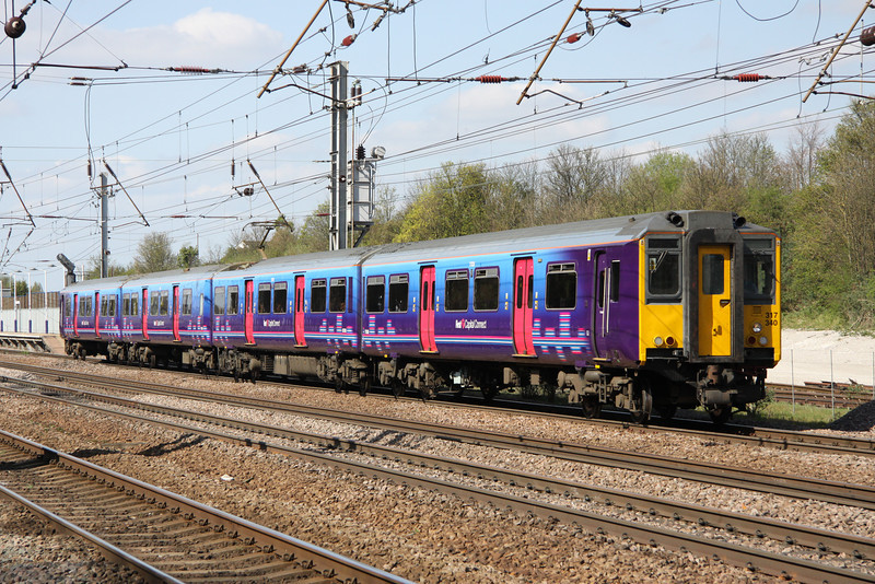 9 April. 317340 leaves Hitchin working the 1355 Cambridge - KIng's Cross.