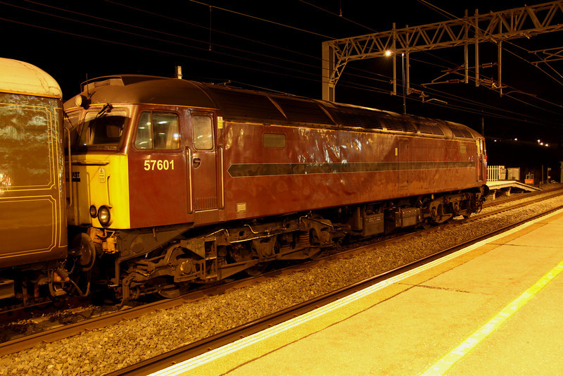 2 April. Another view of the uniquely liveried 57601 at Milton Keynes.