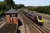 19 August. Cross Country 220018 passes Banbury North signalbox with the 0935 Newcastle - Southampton Central.