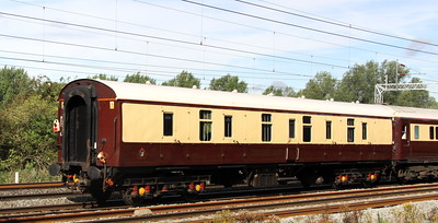 20 August. Mark 1 Gangwayed Brake Van, vehicle 92904 passsing Bradwell in Northern Belle livery.