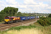 5 August. With COBELFRET boxes to the fore, 66168 passes Chelmscote on the 4M00 0903 Ipswich Griffin Wharf - Hams Hall.