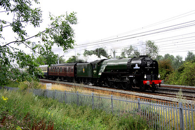 6 August. In the gloom that so defines the British summer, 60163 TORNADO passes Bradwell with the Cathedrals Express, the 1Z88 0807 Euston - Worcester.