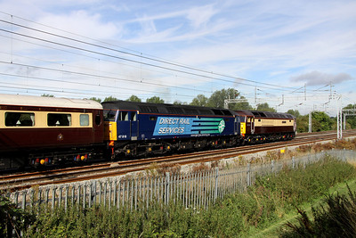 20 August. 47790 Galloway Princess + 47818 power past Bradwell with the Northern Belle, the 1Z18 0848 Euston - Edinburgh in connection with The Edinburgh Military Tattoo.