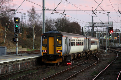 28 December. Albeit unbranded, 156419 is the only class 156 to carry National Express colours. She is seen here departing Norwich on the 1550 to Lowestoft.