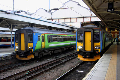 28 December. Only two class 156 units remain carrying the old Central trains livery. They are both seen here at Norwich with 156412 wating to work the 1545 to Sheringham whilst 156418 will work the 1536 to Great Yarmouth.