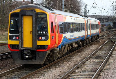 28 December. East Midlands Trains' 158783 leaves Norwich in charge of the 1357 to Liverpool Lime Street.