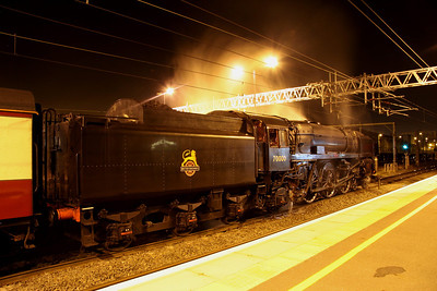 3 December. 70000 BRITANNIA stands at Milton Keynes letting off steam whilst working the Cathedrals Express, the 1Z87 1610 Chester - Euston.