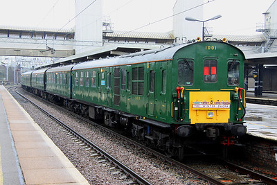 19 February. Preserved Hastings unit 1001 on railtour duty at Bletchley with the 1Z30 0832 Hastings - Bletchley, The WInter Enigma.