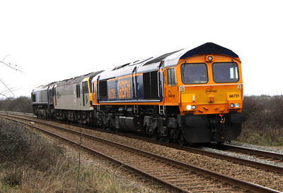 25 February. The first recorded known visit of a class 92 to the Bletchley - Bedford line as Europorte liveried 66731 hauls 92032 Cesar Franck top and tailed with 66401 near Woodleys Farmhouse crossing working the 0M92 1054 Dollands Moor - Brush Loughborough. The 92 would emerge from Brush as the first class 92 to receive Europorte livery.