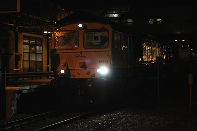 10 January. A high ISO shot of 66731 pulling away from Milton Keynes with the 4O92 1944 Daventry - Dollands Moor (for onward transit to Novara in Italy). This was the first loco to carry full GBRf Europorte colours.