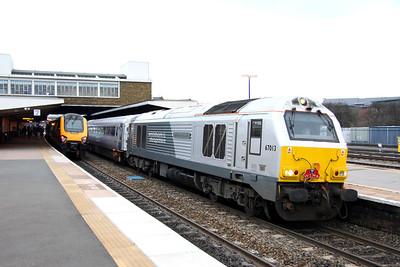 28 January. The last southbound WSMR working ever was entrusted to 67013 Dyfrbont Pontcysyllte complete with headboard. The 1P23 1328 Wrexham General - Marylebone pulls away from Banbury.