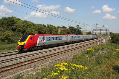2 July. Virgin Voyager 221109 Marco Polo passing Old Linslade on the 0652 Holyhead - Euston.