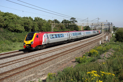 2 July. 221102 John Cabot + 221114 pass Old Linslade on the 0717 Chester - Euston.