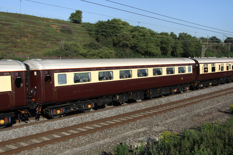 2 July. Northern Belle liveried Mark 2E Open First vehicle 3273 ALNWICK at Old Linslade.