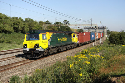 2 July. The impressive 70008 passing Old Linslade on the 4L97 0459 Trafford Park - Felixstowe.